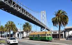 W2 496 passes under Oakland Bay Bridge